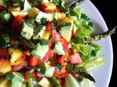 Roasted Asparagus w/ Peach Salsa Salad! Gluten Free, Vegan,Specific Carb Diet SCD w/ Body Ecology Diet option!  glutenfreehappytummy