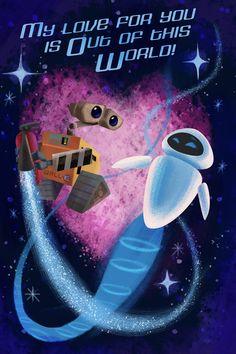 Disney style: Wall-e valentine for iPhone Disney Pixar, Walt Disney, Retro Disney, Animation Disney, Vintage Disney, Disney Love, Disney Magic, Disney Villains, Cute Valentines Day Cards