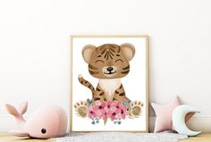 Safari animals wall art – tiger PDF Safari Nursery, Nursery Prints, Wall Art Prints, Watercolour Flowers, Watercolor, Cute Tigers, Large Paper Flowers, Safari Animals, Vixen