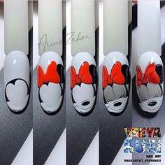 Nail Art Designs Videos, Nail Designs, Mickey Nails, Paris Nails, Nail Logo, Nail Drawing, Nail Art Photos, Nail Art Techniques, Heart Nail Art
