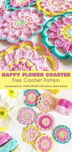 Happy Flower Coasters Free Crochet Pattern and Crochet Flower Coasters The Best . Happy Flower Coasters Free Crochet Pattern and Crochet Flower Coasters The Best Ideas Crochet Coaster Pattern, Crochet Hook Set, Crochet Motifs, Crochet Stitches, Afghan Crochet, Crochet Puff Flower, Crochet Flower Patterns, Crochet Designs, Crochet Flowers