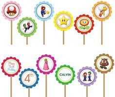 Super Mario Bros Free Printables   super mario bros luigi yoshi printable diy custom party circle cupcake ...