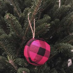 Knock-off Pottery Barn red buffalo check ball ornament