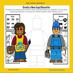Art Sub Lessons: Worksheet for Early Finishers Lego character drawing for elementary students. Elementary Drawing, Elementary Art Rooms, Art Lessons Elementary, Art Sub Plans, Art Lesson Plans, Middle School Art Projects, School Projects, Easy Art Projects, Group Projects