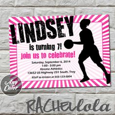 Girl Basketball invitation do-it-yourself digital by Rachellola