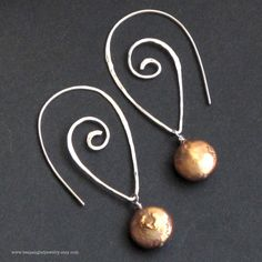 Sterling Silver Spiral Earring Hoops with Copper Coin Pearl, Handforged Hammered and Brushed, Oxidized / Antique Finish. $38.00, via Etsy.