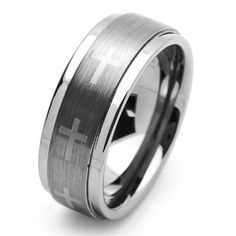 9MM Comfort Fit Tungsten Carbide Wedding Band Cross Engraved For Men  Women (5 to 15) Cobalt Free -