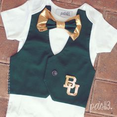 Baby Boy Baylor University Bears Football Bodysuit with Vest and Bowtie on Etsy, $30.00