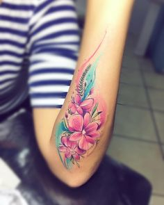 Flowers tattoo by Adrian Bascur
