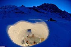 Icy grotto: Iglu-Dorf in Zermatt, Switzerland - a network of inter-connecting igloos complete with this hot tub offering - takes around hours to build every winter Igloo Village, Spa Privatif, Hotel World, Natural Mineral Water, Switzerland Vacation, Amazing Places On Earth, Exotic Beaches, One With Nature, Zermatt