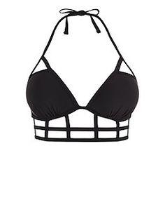 Black Longline Caged Triangle Bikini Top  | New Look