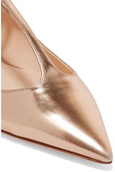 Jimmy Choo - Daria Metallic Leather Point-toe Flats - Gold - IT40