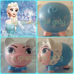 Elsa Pig Bank, Personalized Piggy Bank, Baby Shawer, Cute Piggies, Summer Crafts, My Princess, Elsa, Decoupage, Projects To Try