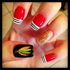 LOVE these #Blackhawks nails