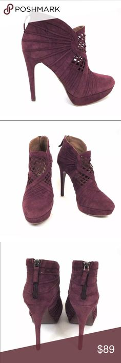"""ELIE TAHARI WINE SUEDE CUT-OUT PLATFORM BOOTIES ELIE TAHARI WINE SUEDE 'BRIA' CUT-OUT PLATFORM BOOTIES SZ.39.5 RICH WINE SUEDE ANKLE BOOTS BY ELIE TAHARI WITH RUCHED & WEBBED CUT-OUT DETAIL, ALMOND TOES, ZIP BACK CLOSURE, APPROX. 5"""" COVERED STILETTO HEELS & 1"""" COVERED PLATFORMS. IN VERY GOOD PRE-OWNED CONDITION WITH MINIMAL SIGNS OF WEAR ON UPPERS. WEAR ON SOLES. Elie Tahari Shoes Ankle Boots & Booties"""