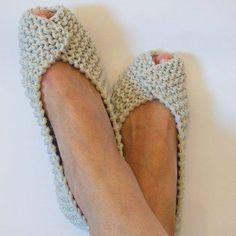Off White Gray Beige COTTON Women's Slippers -NonSlip Footwear - Ballet flats - Handmade shoe. Off White Gray Beige COTTON Women's Slippers -NonSlip Footwear - Ballet flats - Handmade shoes - Knitted slippers - NenaKnit - Gift Wrapping, Free Knitting, Knitting Patterns, Crochet Patterns, Sock Knitting, Knitting Machine, Crochet Stitches, Knitted Slippers, Crochet Slippers, Knit Slippers Pattern