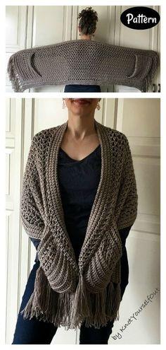 Crochet Wrap Pattern, Diy Crochet, Crochet Crafts, Crochet Projects, Crochet Shawl Patterns, Crochet Pullover Pattern, Crochet Cape, Crochet Style, Pattern Flower