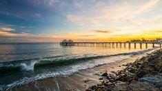 Stany Zjednoczone, Kalifornia, Malibu, Morze, Molo, Wybrzeże, Fale, Kamienie, Wschód słońca
