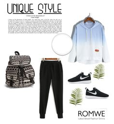 """Black Drawstring Waist Pants"" by zerina-okanovic ❤ liked on Polyvore featuring NIKE, NLY Accessories, Pier 1 Imports and romwe"
