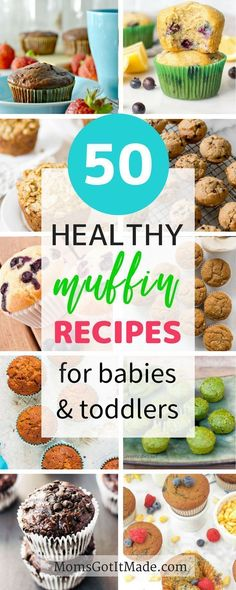 Fifty Healthy Muffins Your Toddler Will Love. Awesome roundup of veggie sweet savory delicious muffins that are perfect snacks for your baby or toddler! Includes recipe options for all diets including paleo gluten-free dairy-free sugar free and more. Baby Muffins, Muffins For Babies, Toddler Meals, Kids Meals, Muffins Sains, Planning Menu, Baby Snacks, Baby Foods, Snacks Saludables