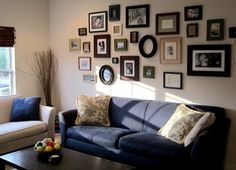 Second Hand Treasures. We furnish of our home with second hand items bought from Craigslist the Salvation Army and garage sales. Frame Wall Collage, Frames On Wall, Family Pictures On Wall, Sofa Frame, Interior Decorating, Interior Design, Decorating Ideas, My New Room, House Tours