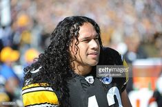 Safety Troy Polamalu of the Pittsburgh Steelers looks on from the sideline during a game against the Minnesota Vikings at Heinz Field on October 2009 in Pittsburgh, Pennsylvania. The Steelers. Football Players Names, But Football, Watch Football, Baseball, Beautiful Men, Beautiful People, Troy Polamalu, Helmet Hair, Pittsburgh Sports