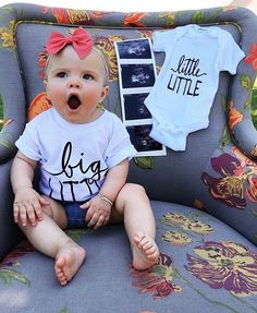 @lovelittlefaces / @littlefacesapparel - Graphic sibling tees / Big Little and Little Little. Little Faces Apparel @mallory.mitchell!! Matching sibling shirts, pregnancy announcement, baby onesie announcement, big sister big brother tee.