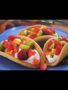 Dessert for a Mexican theme shower.....fruit tacos!!