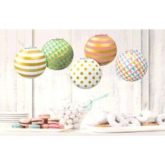 One 5 count set of 5 inch Pastel Mini Foil Dot Lanterns. Includes metal supports and string for hanging. Tissue Paper, Party Supplies, Lanterns, Count, Dots, Pastel, Drink, Business, Metal