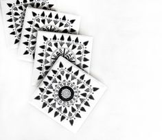 Coasters Black and White Scandinavian set of 4 by mayagencic, $25.00