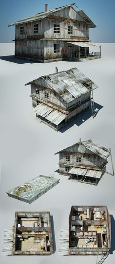 Houses For Abandoned Village, Pavel Pavaks on ArtStation at http://www.artstation.com/artwork/houses-for-abandoned-village