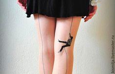 Носки, Чулки ручной работы. Ярмарка Мастеров - ручная работа. Купить Колготки тату. Handmade. Бежевый, рисунок, тату, татуировка