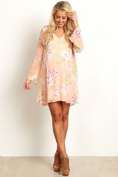 Pink-Floral-Printed-V-Neck-Chiffon-Dress