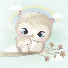 Cute owl mother and baby Premium Vector Cute Cartoon Animals, Baby Animals, Cute Animals, Colorful Drawings, Cute Drawings, Cartoon Mignon, Illustration Mignonne, Baby Animal Drawings, Art Mignon