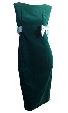 Emerald Green Velveteen Sheath Dress with Sky Blue Satin Band and Bow circa 1960s