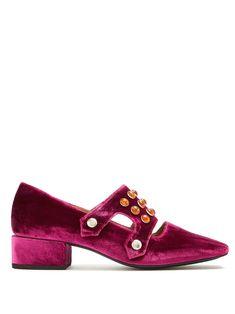 stud-embellished velvet mid-heel loafers by toga