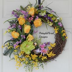XL Forsythia Wreath, Yellow Tulips, Spring And Summer, Grapevine Wreath With Bird, Country Wreath for Front Door, Pink Purple Flowers A