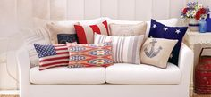 Add patriotic pillows to your furniture!  VPR suggests adding these pillows to some outdoor furniture!