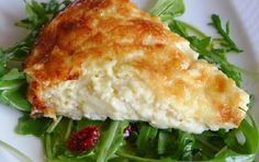 My favorite quiche is a simple cheese quiche; no crust, and no endless combinations of vegetables to interfere with the creamy custard. I prefer a fresh salad on the side. And this three ingredient… Greek Recipes, Real Food Recipes, Cooking Recipes, Yummy Food, Healthy Recipes, Cetogenic Diet, Cheese Quiche, Greek Cooking, Greek Dishes
