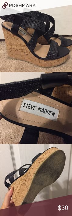 Like new Steve Madden black wedges Ike new Steve Madden black wedges. To put them on you stretch the straps and slide your foot in. Only worn once (maybe twice at most). Steve Madden Shoes Wedges