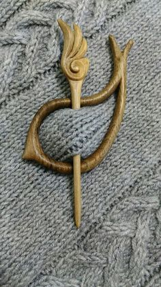 Hand Carved Wooden Pin, broach