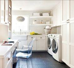 white multipurpose laundry room design