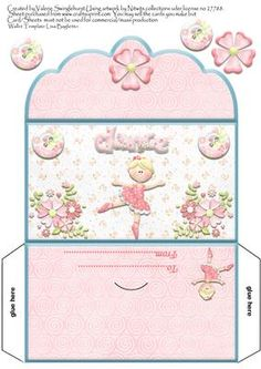 Sweet Ballerina Girls Money wallet on Craftsuprint designed by Valerie Swinglehurst - A money wallet for a Girl can be used for birthday,or as a thank you.can be used for money, gift cards, lottery's and more,very quick and easy to make. - Now available for download!