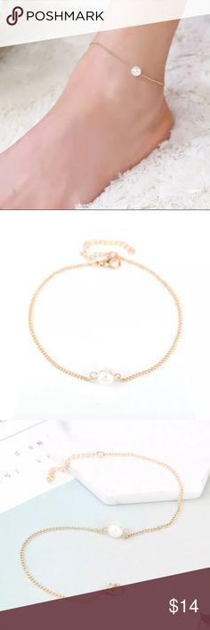 🌺 Gold Anklet NWOT gold color anklet with a pearl. The anklet is about 9inches + a 2 inch extender. Jewelry