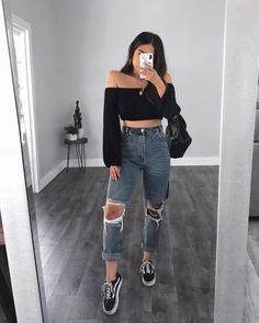 Sexy Look Fashion Style Outfit Rubilove - Teen Fashion Outfits, Mode Outfits, Outfits For Teens, Look Fashion, Fall Outfits, Summer Outfits, Outfits With Mom Jeans, Guy Fashion, Tween Fashion