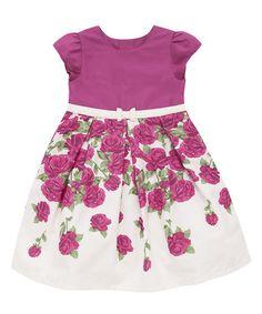 Raspberry Rose Cap-Sleeve Dress - Infant, Toddler & Girls #zulily #zulilyfinds