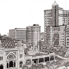 Learn how to illustrate your local cityscape {featuring an ink wash} in this detailed tutorial! You totally can do it.