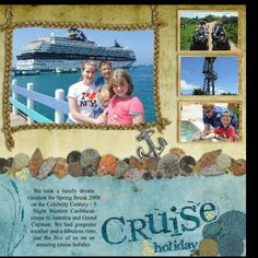 Serif Digital Scrapbook Artist Scrapbook Pages: Cruise Layout Cruise Scrapbook Pages, Vacation Scrapbook, Disney Scrapbook, Scrapbook Sketches, Scrapbook Page Layouts, Scrapbook Cards, Free Digital Scrapbooking, Scrapbooking Ideas, Cruise Holidays