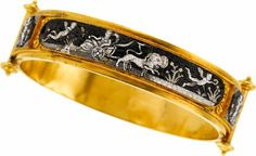 Victorian Micromosaic, Gold Bracelet The hinged bangle features a micromosaic depicting a Greek scene with - Available at 2012 April 30 Jewelry Signature.