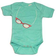 Cat Eye Glasses on a Baby Blue Onesie